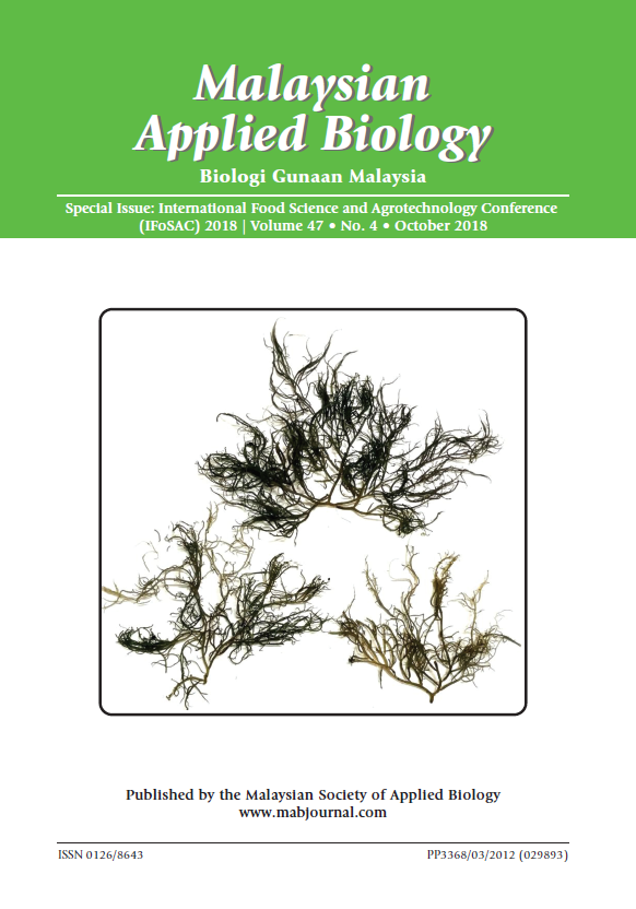 View Vol. 47 No. 4 (2018): Special Issue: International Food Science and Agrotechnology Conference (IFoSAC) 2018