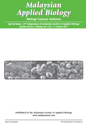 View Vol. 46 No. 1 (2017): Special Issue: 14th Symposium of Malaysian Society of Applied Biology (MSAB 2016)